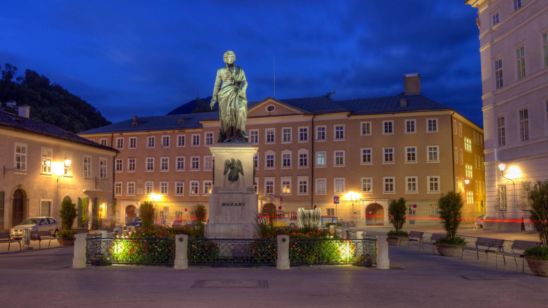 Mozart statue in Mozartplatz, Salzburg, Austria
