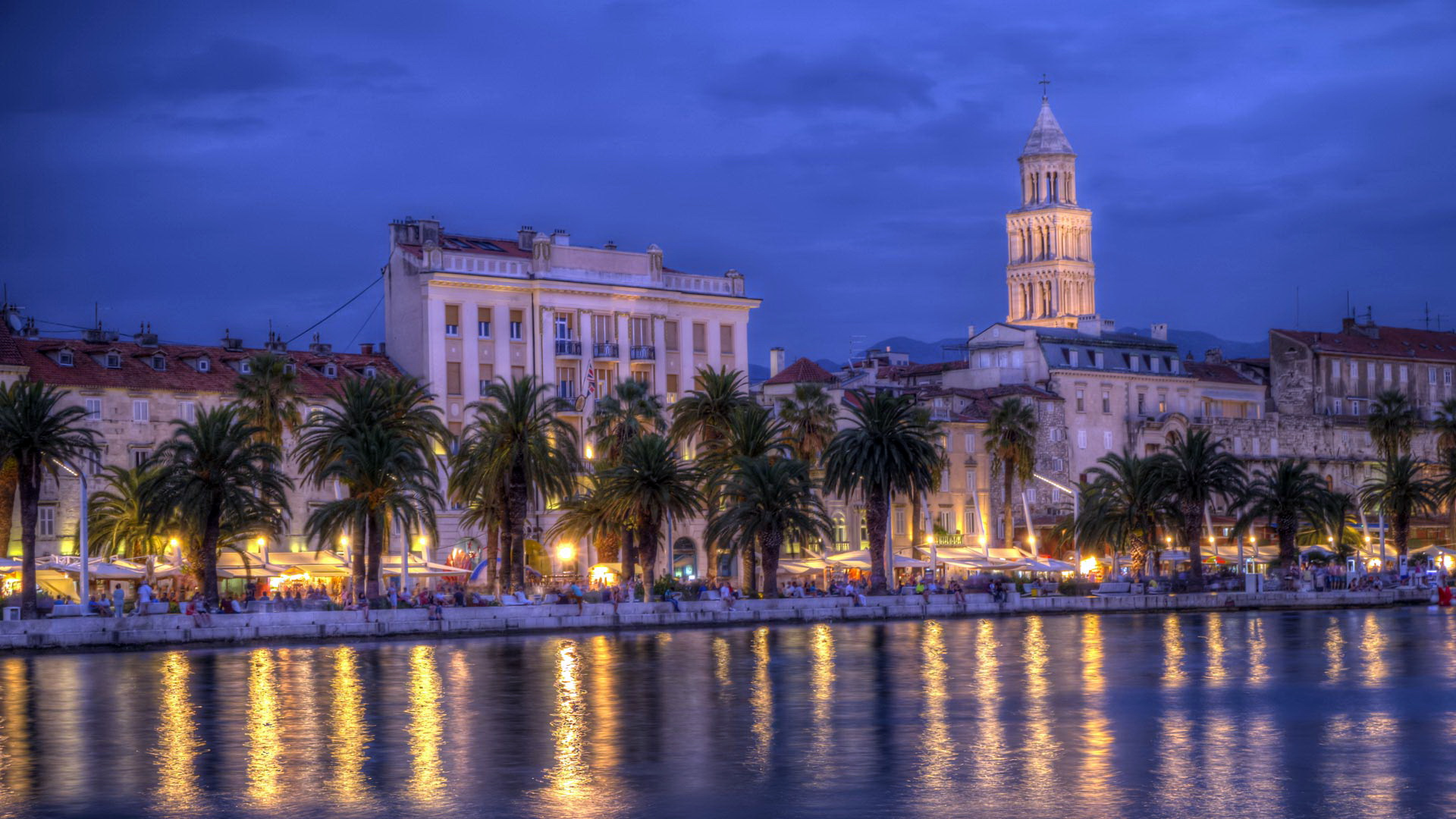 Riva waterfront, houses and Cathedral of Saint Domnius, Dujam, Duje, bell tower Old town by night, Split, Croatia, HDR