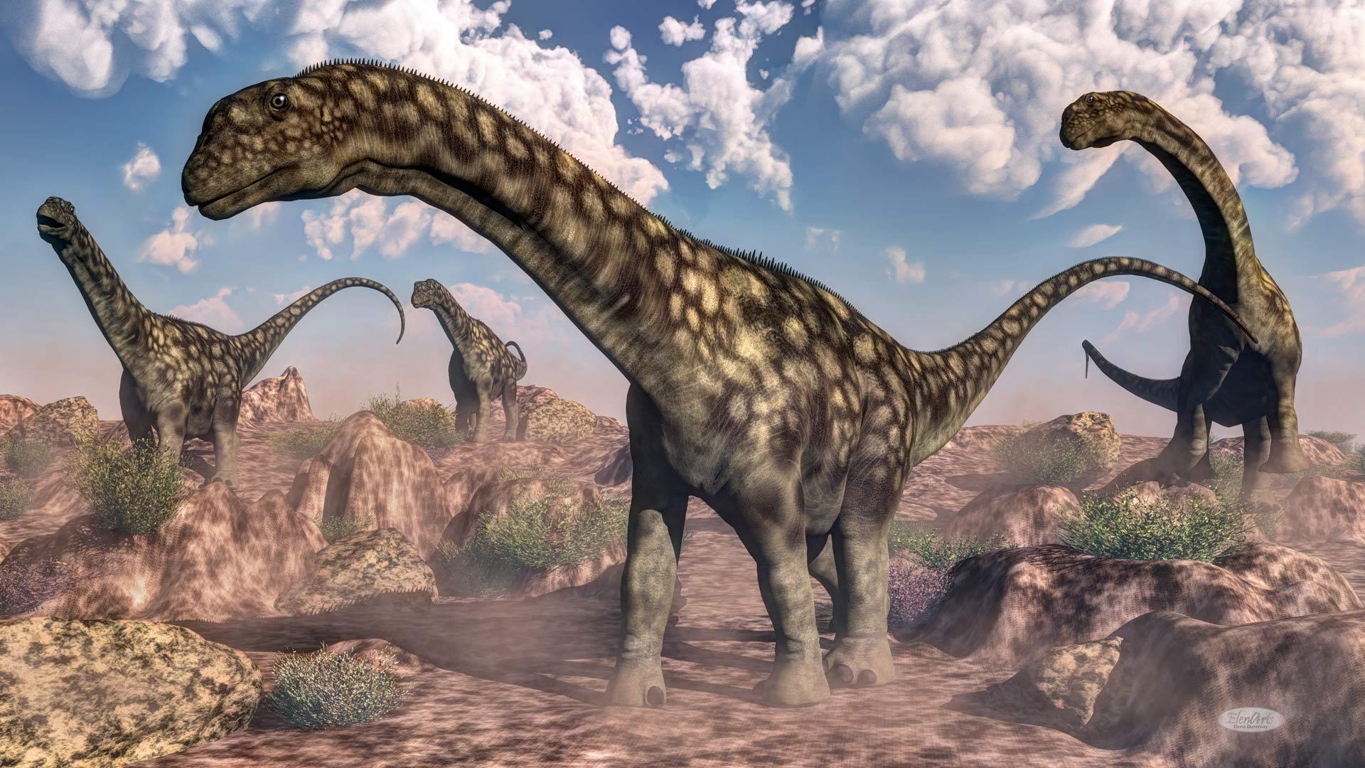Argentinosaurus dinosaurs – 3D render