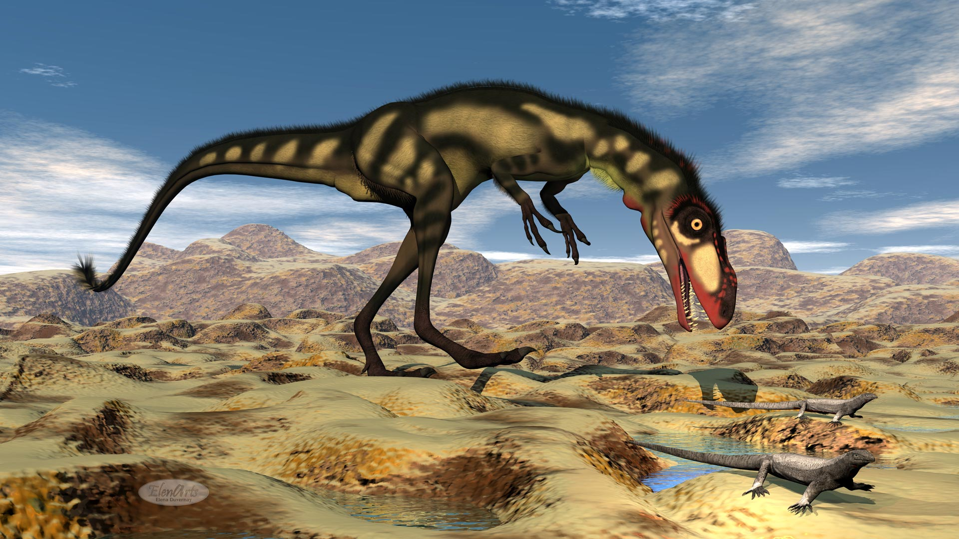 Dilong dinosaur in the desert hunting small lizards - 3D render