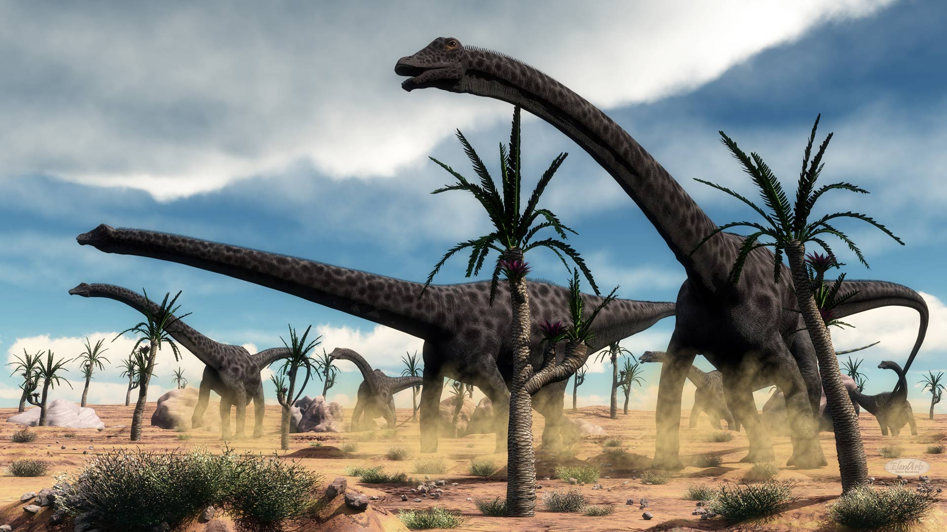 Diplodocus dinosaurs herd in the desert – 3D render