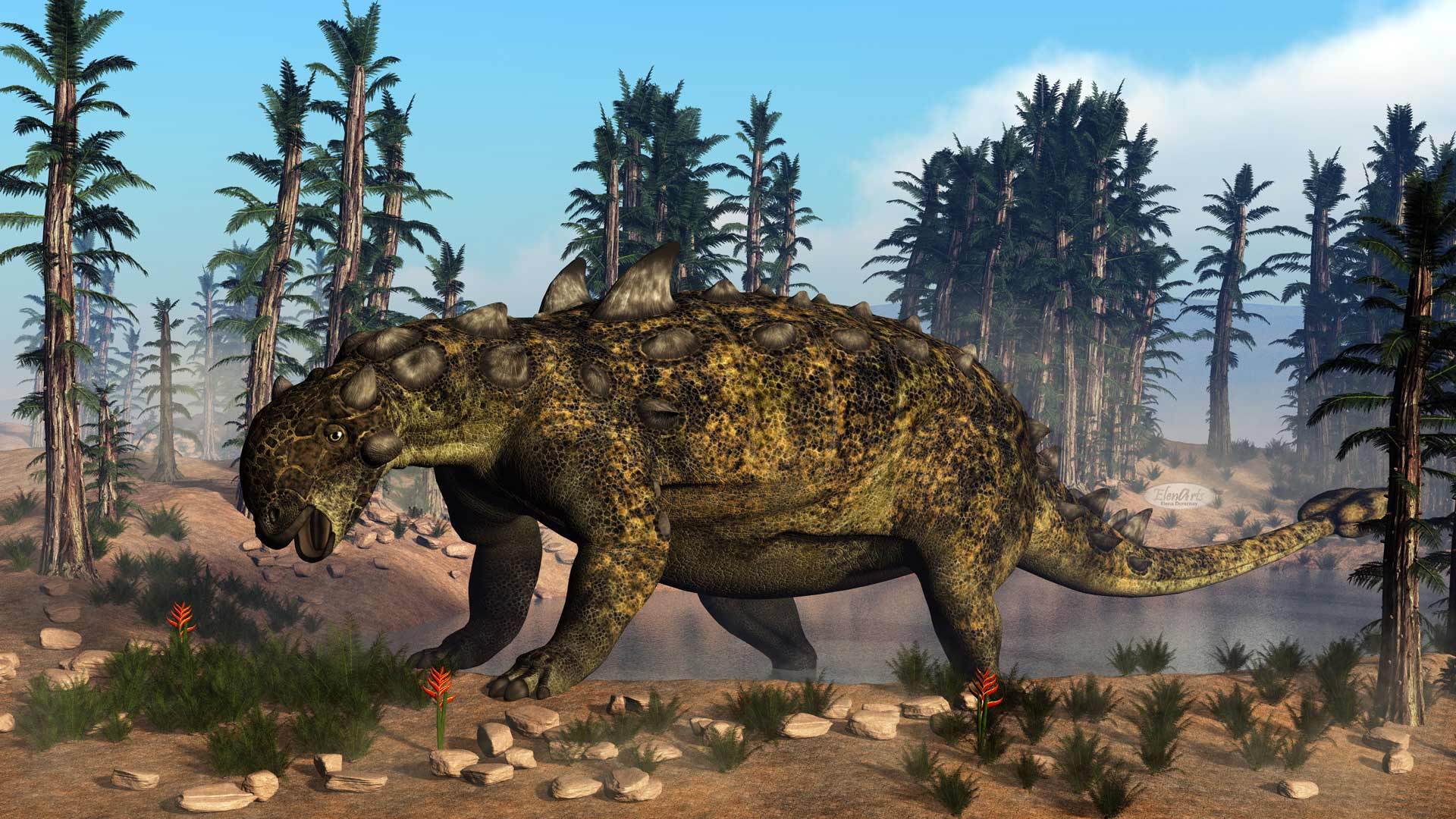 Euoplocephalus dinosaur walking toward small vegetation to eat it by day - 3D render