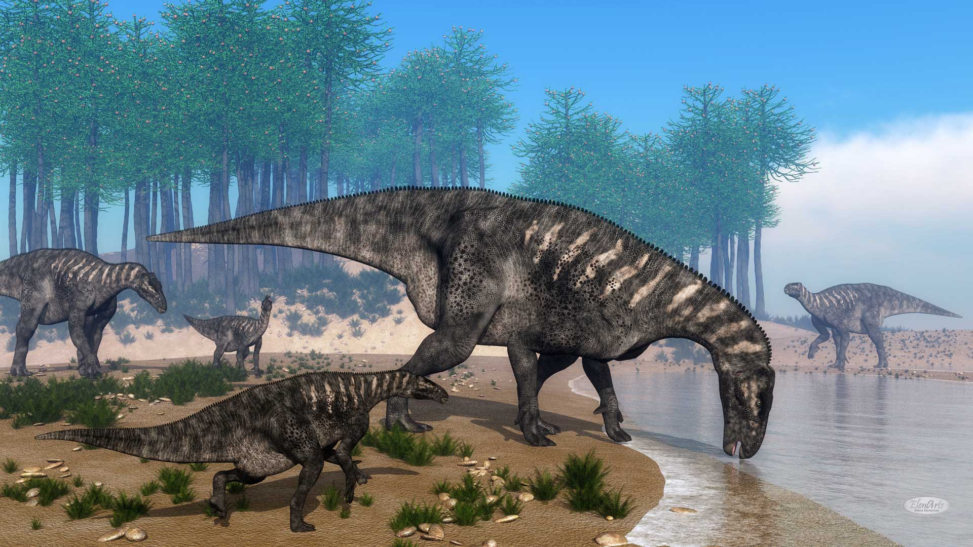 Iguanodon dinosaurs herd at the shoreline – 3D render