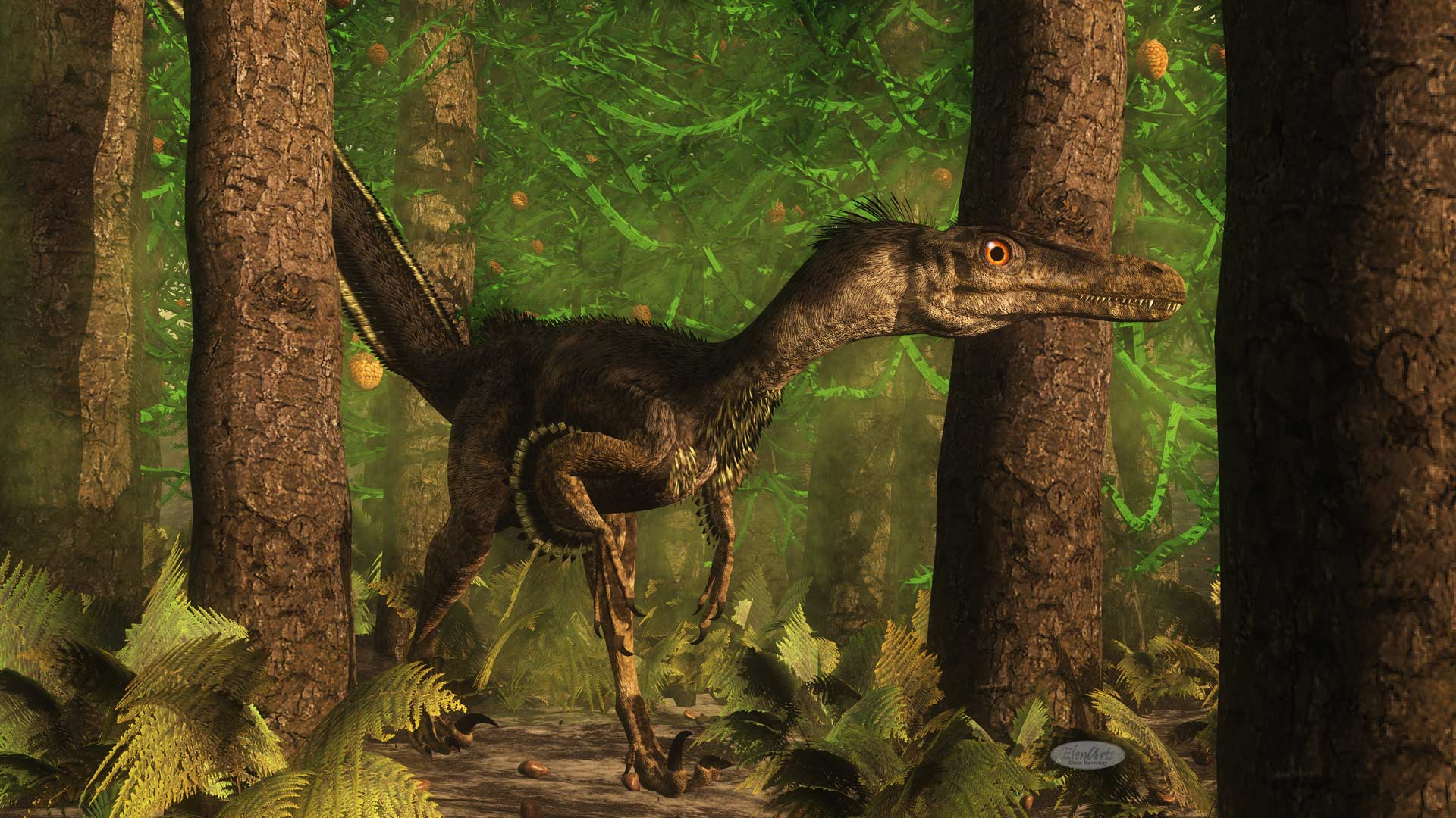 Velociraptor dinosaur observing in a araucaria tree forest - 3D render
