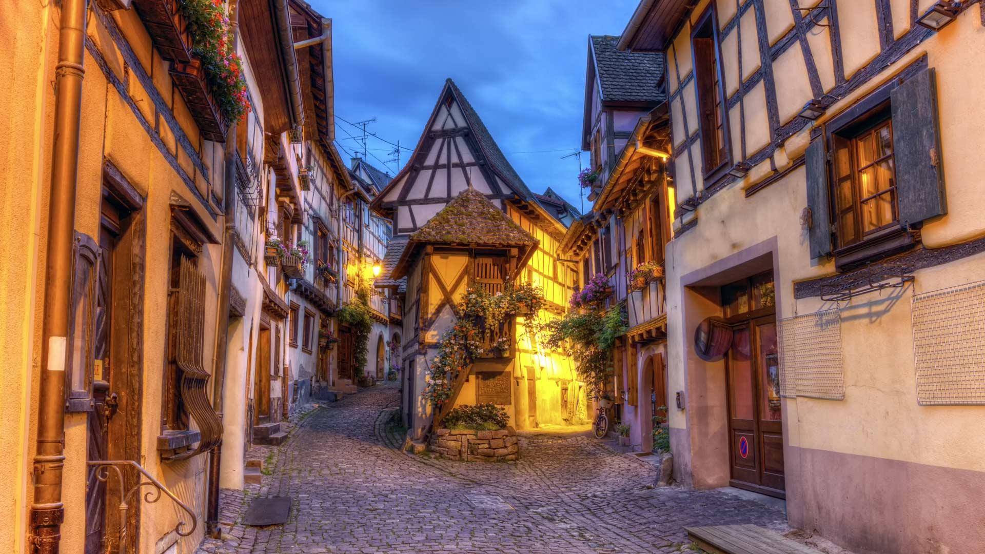Rempart-sud street in Eguisheim, Alsace, France