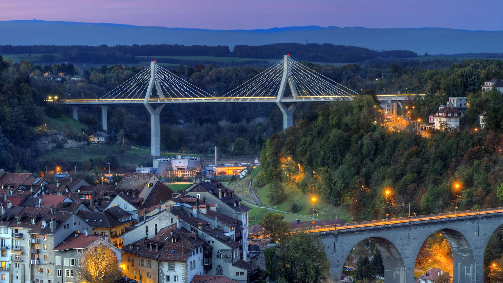 View of Poya and Zaehringen bridge, Fribourg, Switzerland, HDR