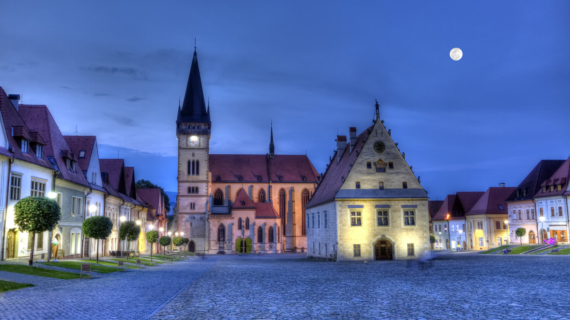 Old town square in Bardejov, Slovakia, HDR