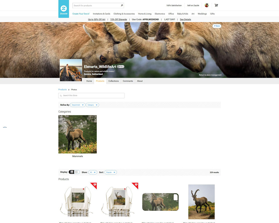 Visit Elenarts' WildlifeArt zazzle store