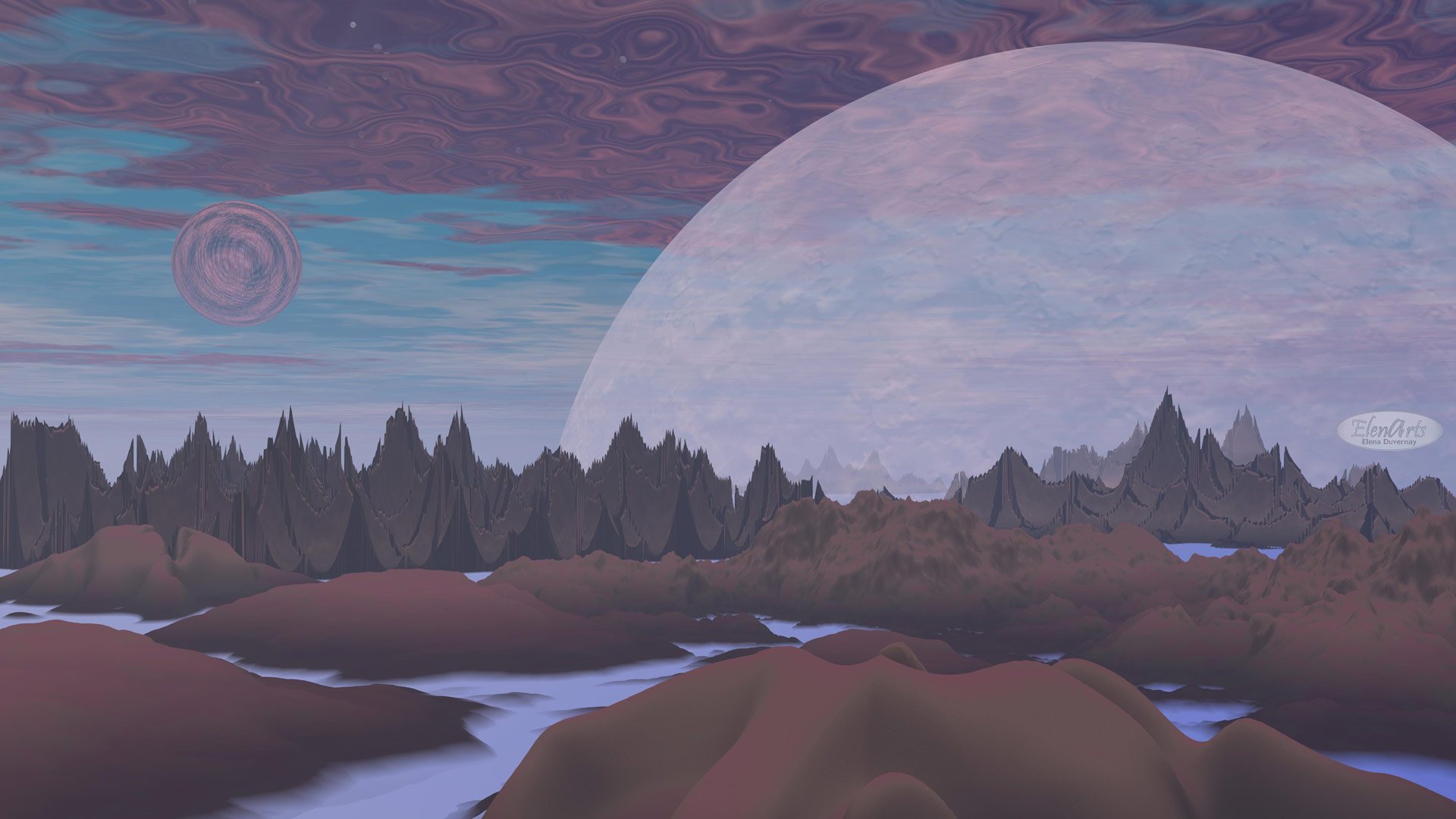 Violet landscape with rock mountains, trees, fog and planets - 3D render