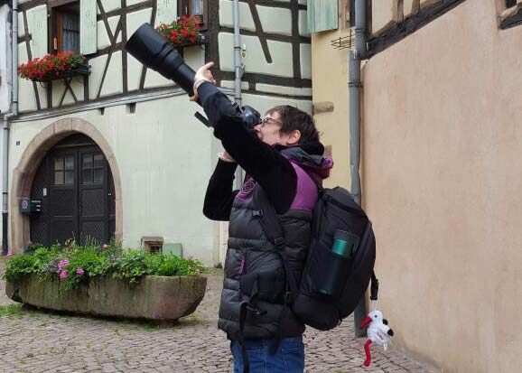 Elena taking picture in Alsace, France