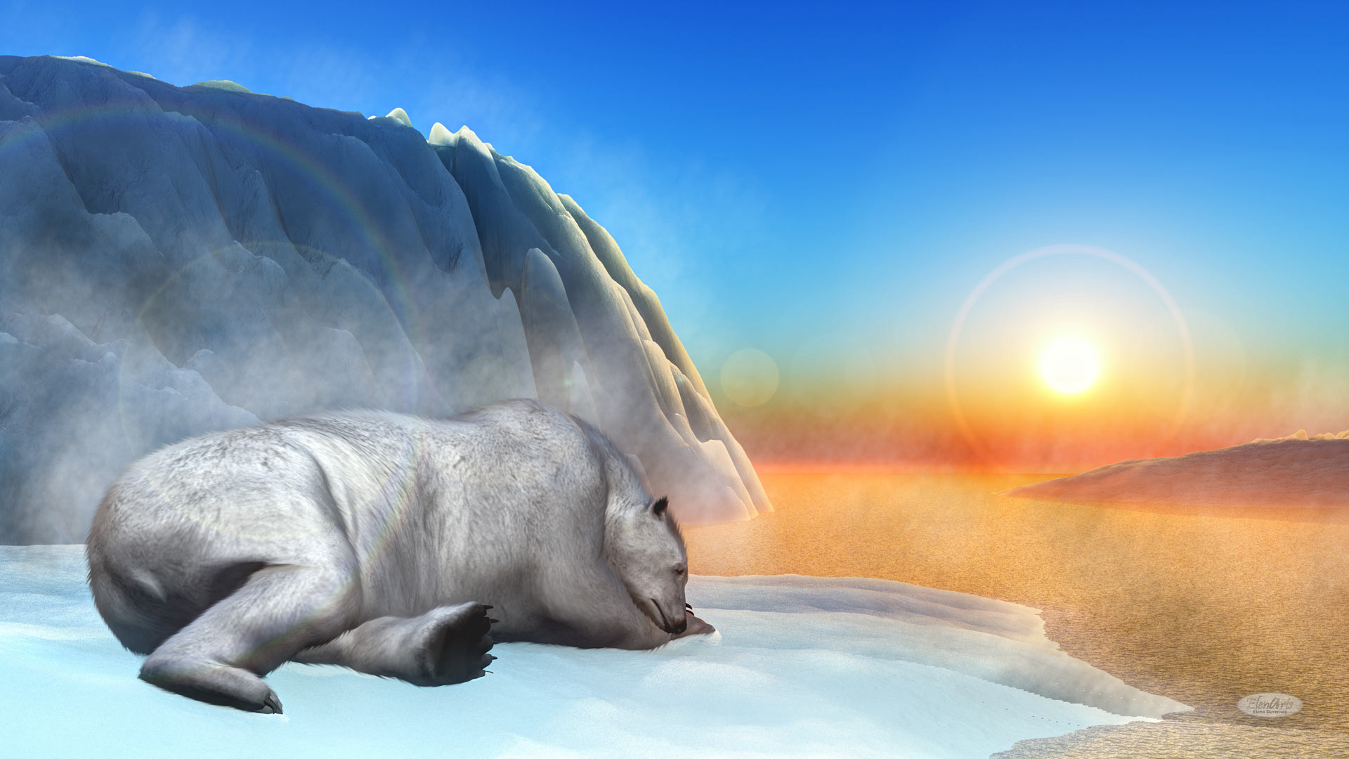 Polar bear sleeping upon an iceberg by sunset – 3D render