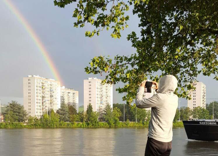 Elena taking the rainbow in picture, Liege, Belgium