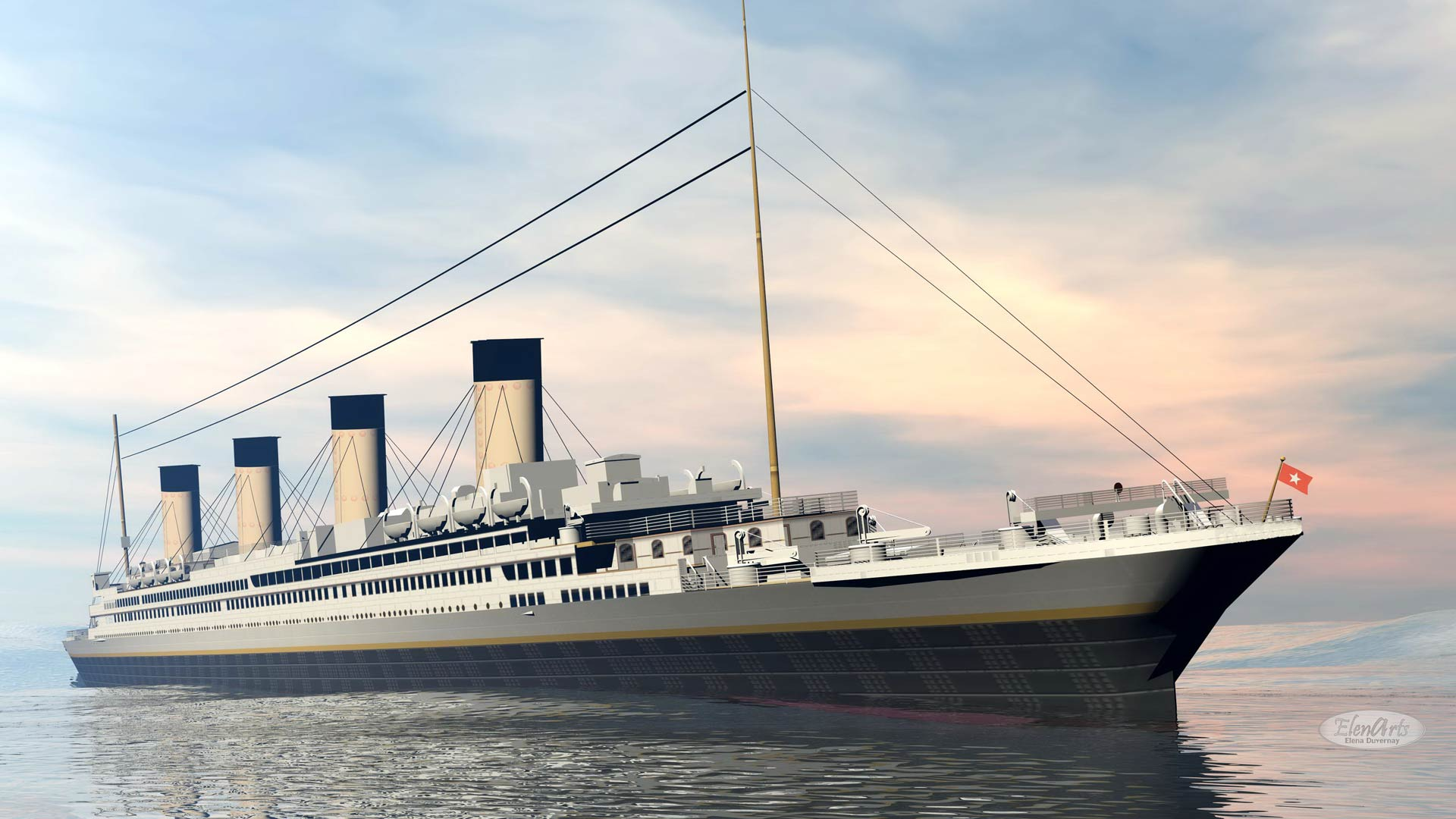 Famous Titanic ship floating on the water by sunset - 3D render