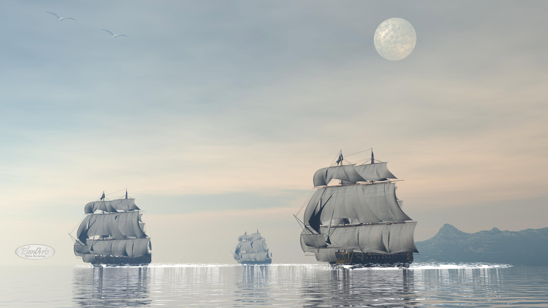 Three old ships floating on quiet water by full moon – 3D render