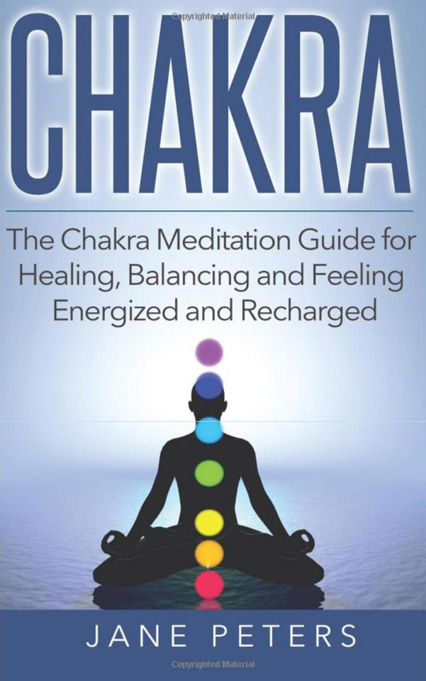 Chakra meditation guide : silhouette of a man meditating with chakras to illustrate the cover