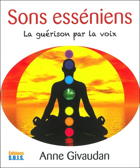 Essenian healing book : meditation silhouette with chakras by sunset to illustrate the cover