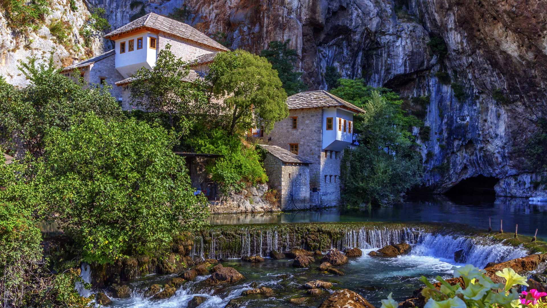 Small village Blagaj on Buna waterfall by day, Bosnia and Herzegovina