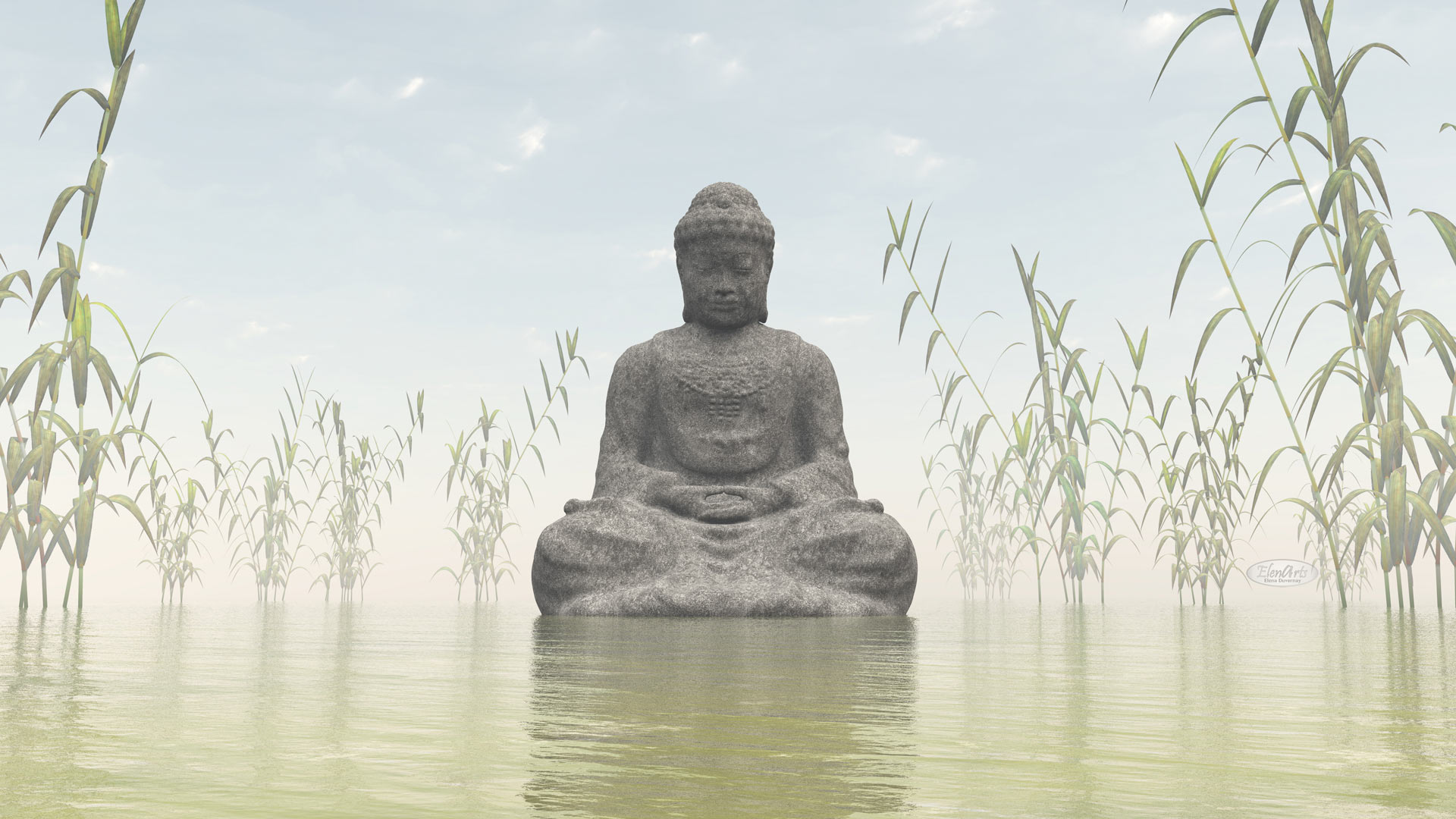 Stone buddha meditating next to bamboos by morning light – 3D render
