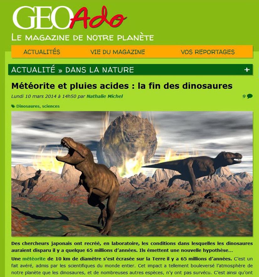 Geo ado website : tyrannosaurus rex to illistrate death of the dinosaurs article