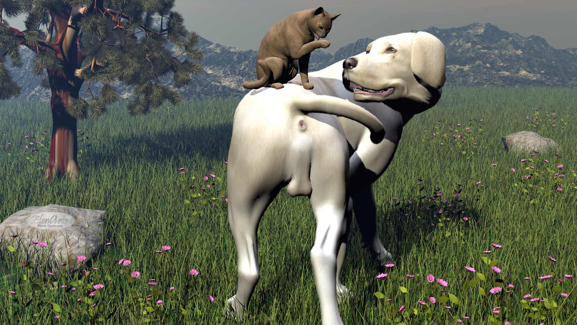 Labrador dog and abyssin cat friendship - 3D render