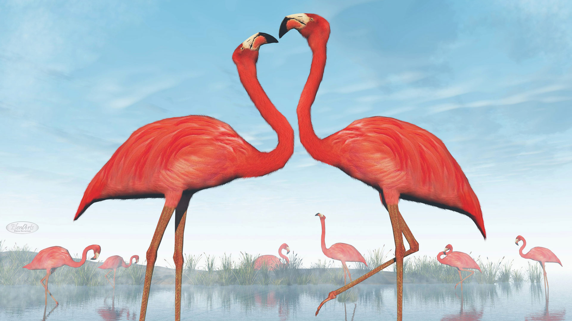 Pink flamingos courtship at the beach by daylight – 3D render
