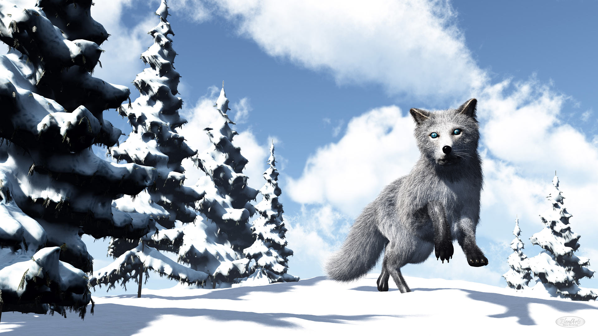 White fox in the mountain near fir trees by winter day - 3D render