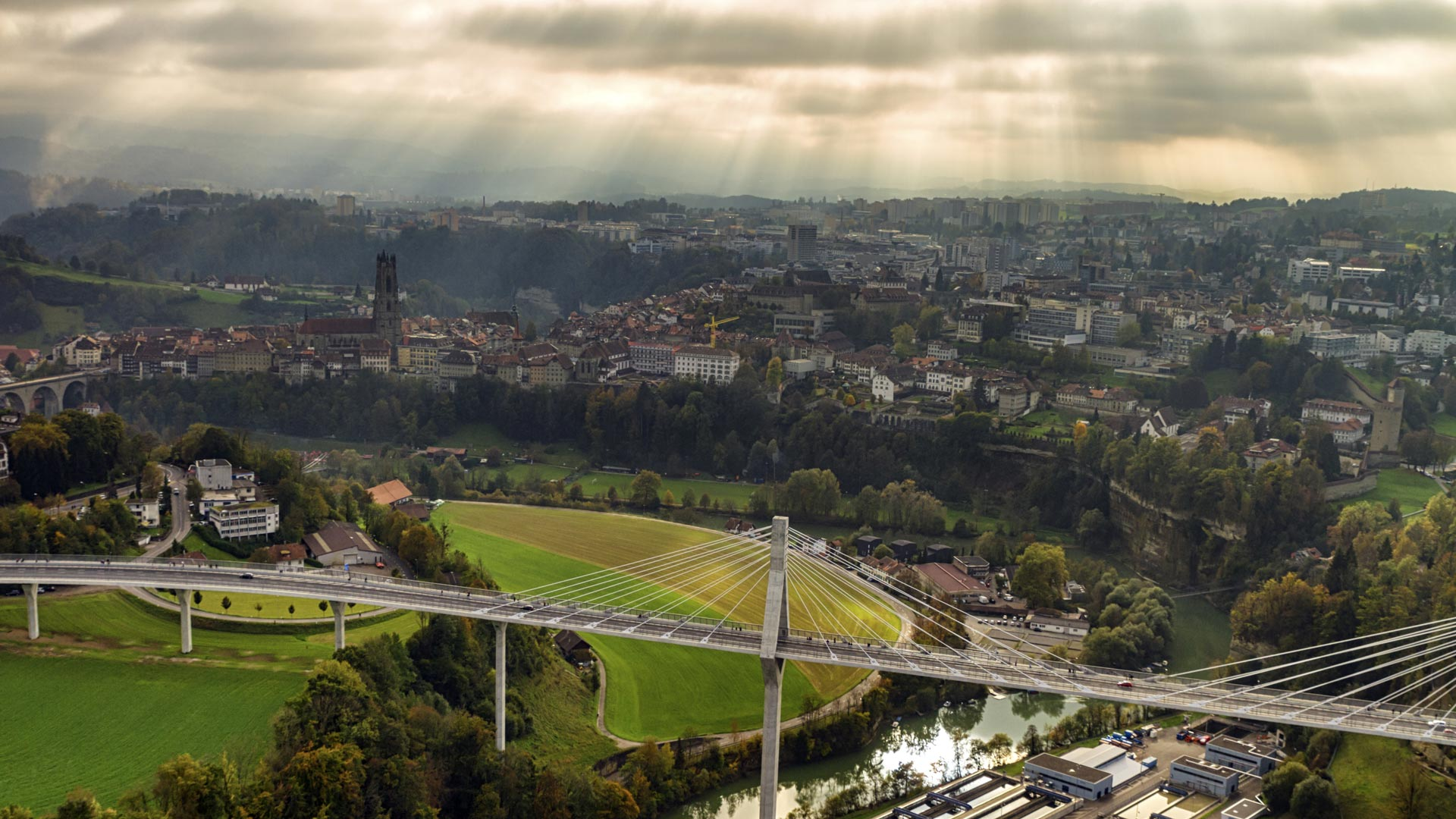 Aerial view of Fribourg with its cathedral and new Poya bridge, Switzerland