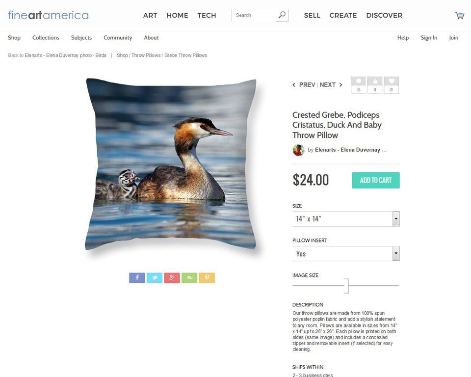 Crested Grebs ducks pillow on fineartamerica
