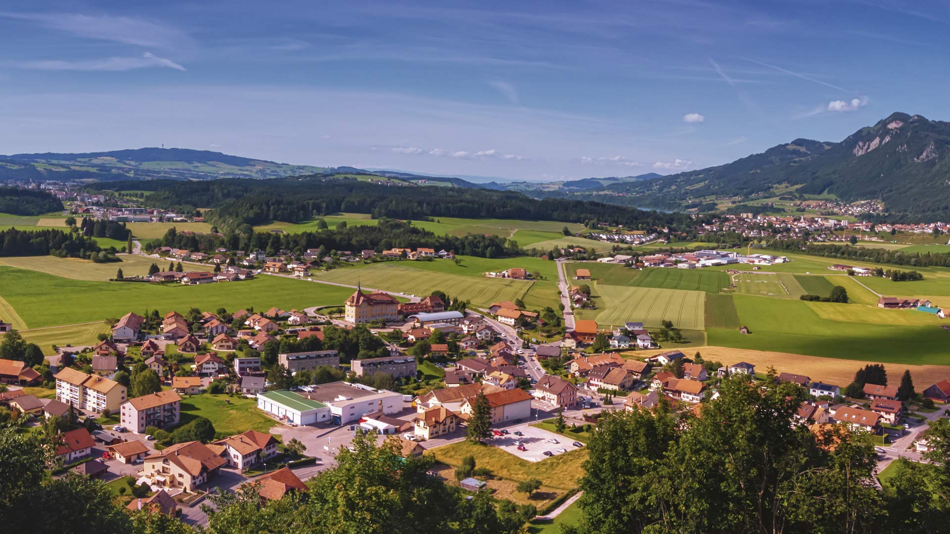 Panoramic view of Gruyeres area, Fribourg, Switzerland