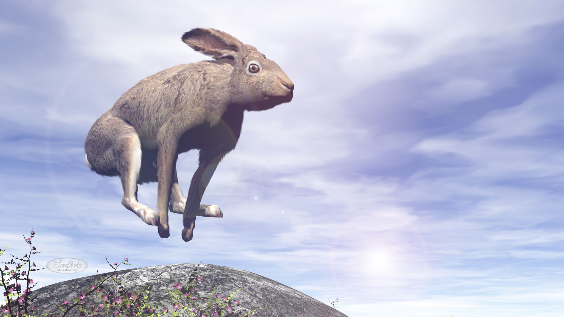 Hare jumping over a rock by sunny day - 3D render