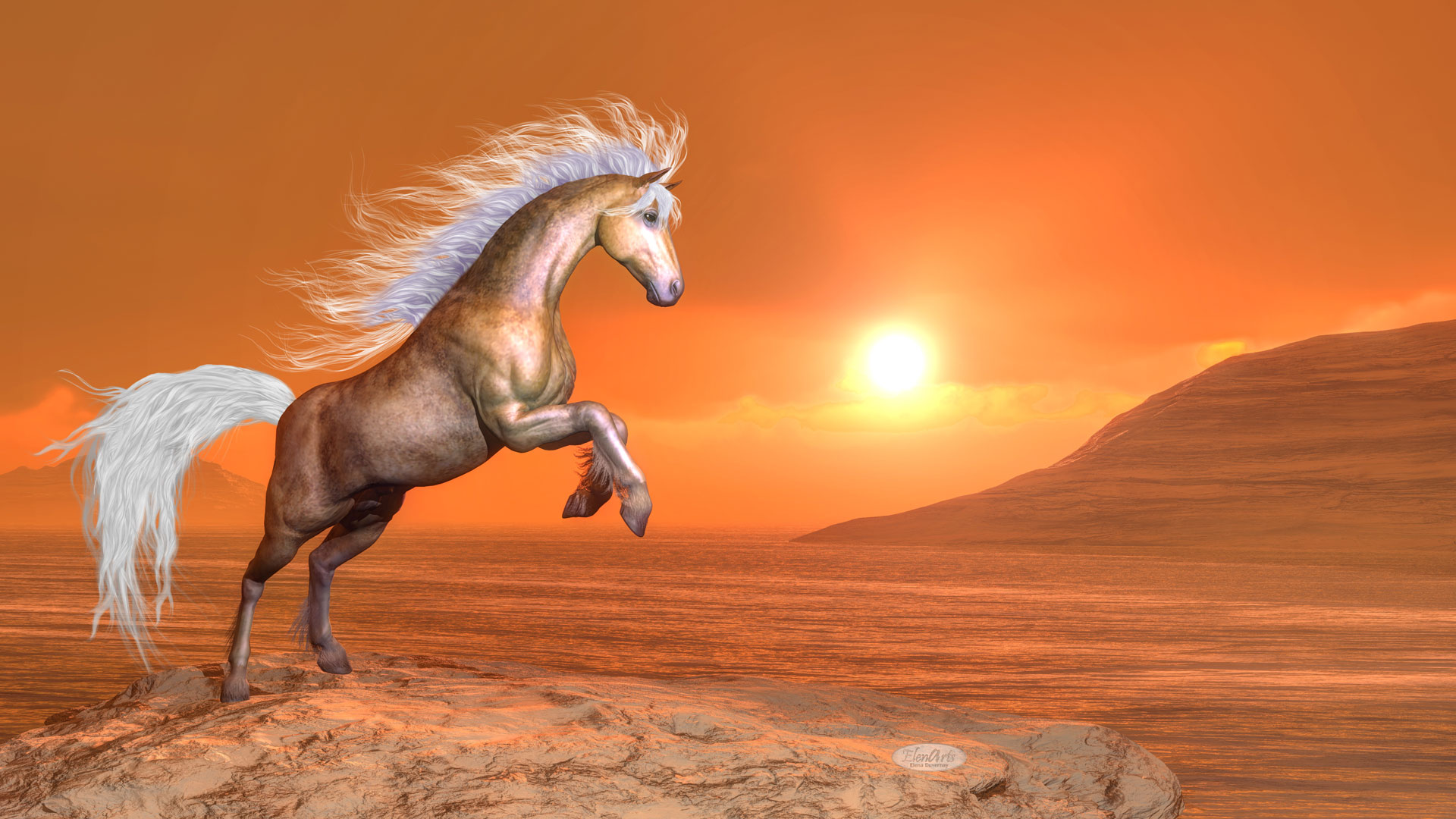Clear brown horse rearing by orange sunset – 3D render