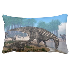 iguanodon dinosaurs zazzle lumbar pillow
