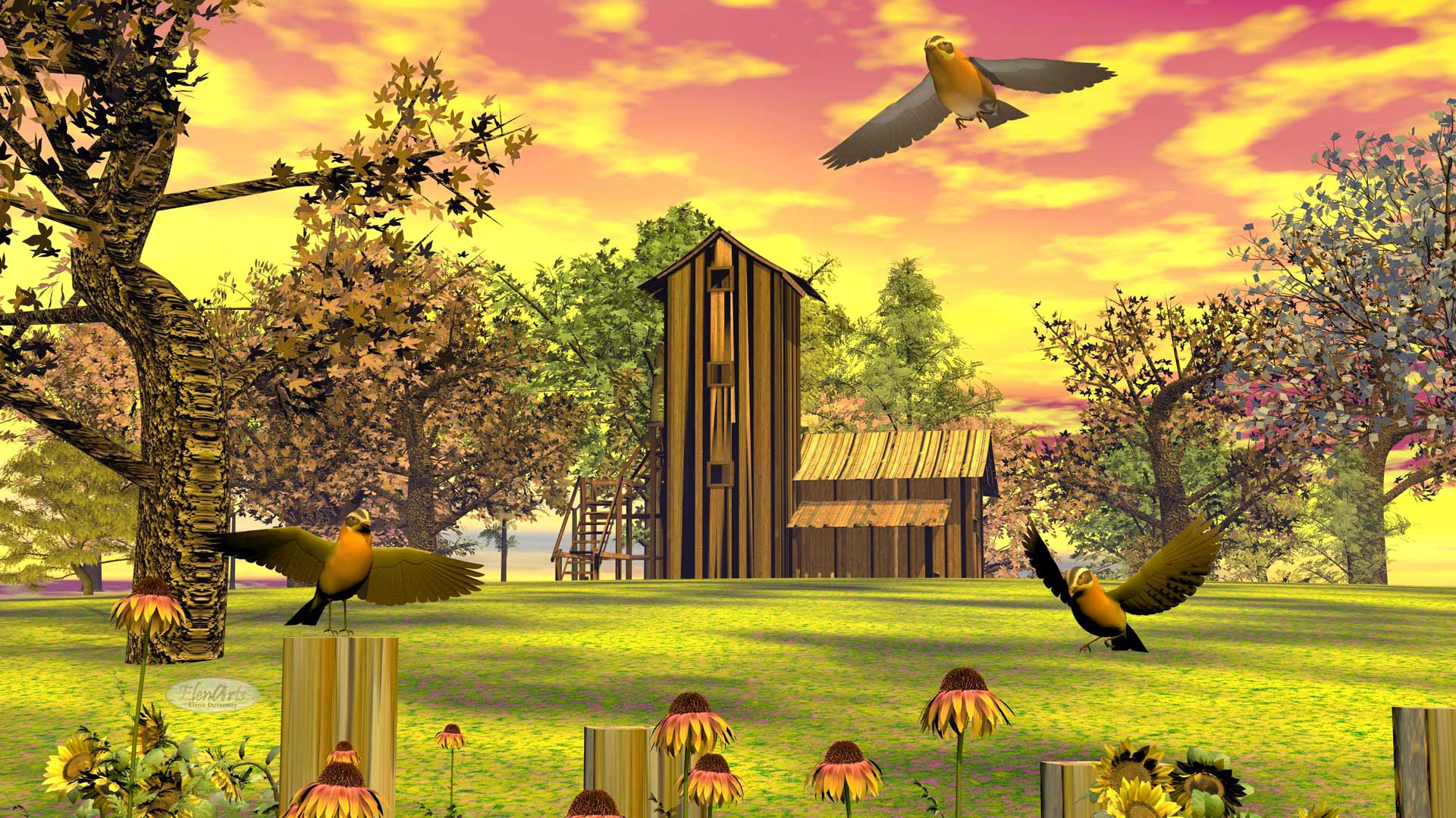 Farm house, trees flowers, grass and birds in autumn sunset landscape
