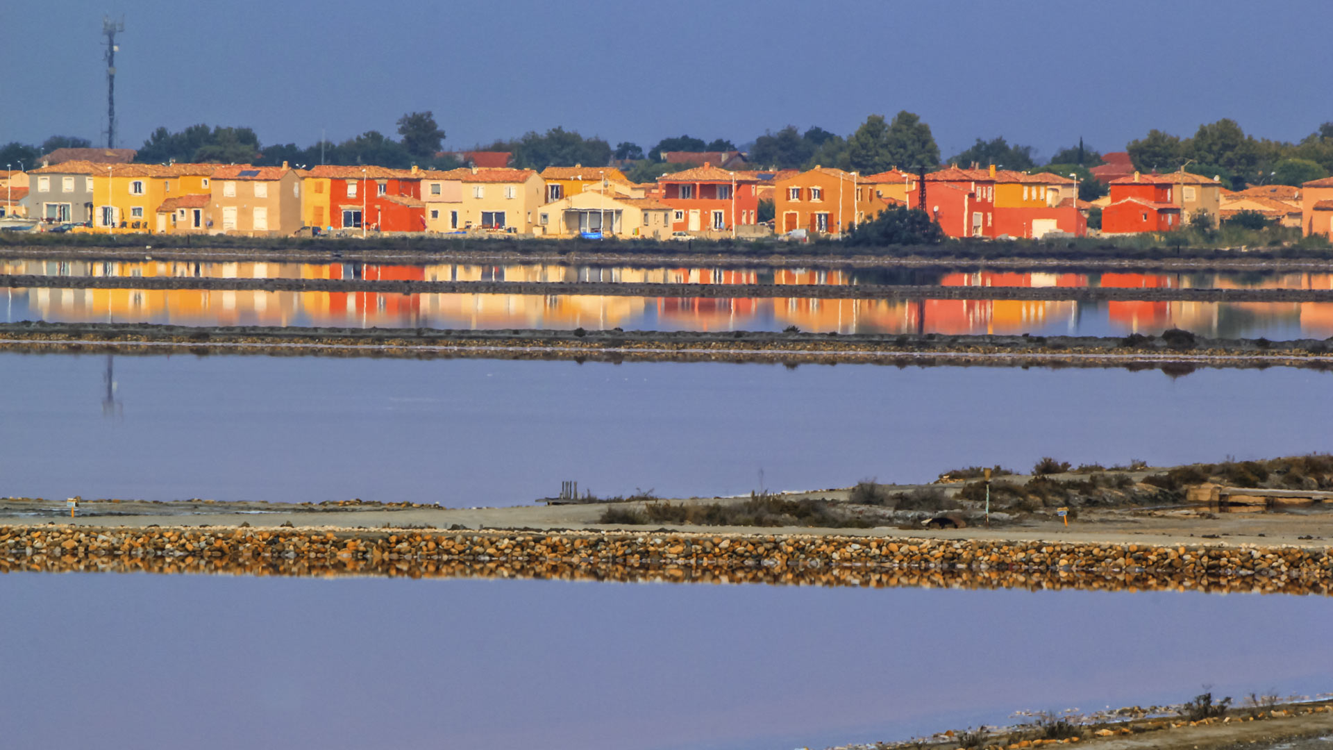 Colorful houses at the salins de Giraud, Camargue, France