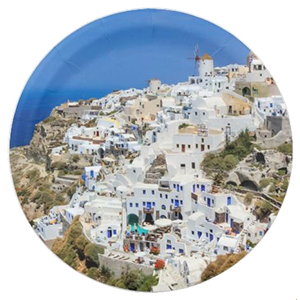 oia village on santorin zazzle paper plate