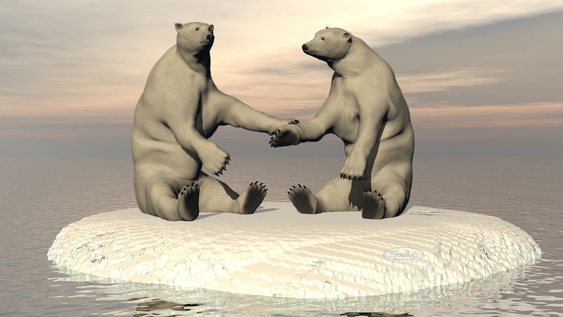 Friendship white bears in the pole – 3D render