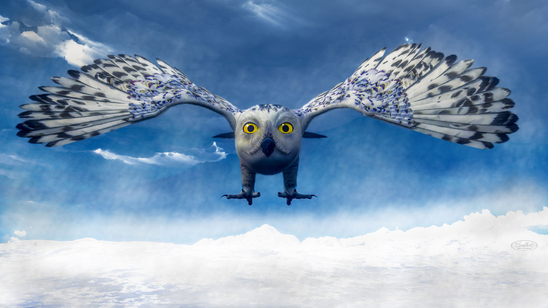 White owl diving in the mountain by winter day – 3D render
