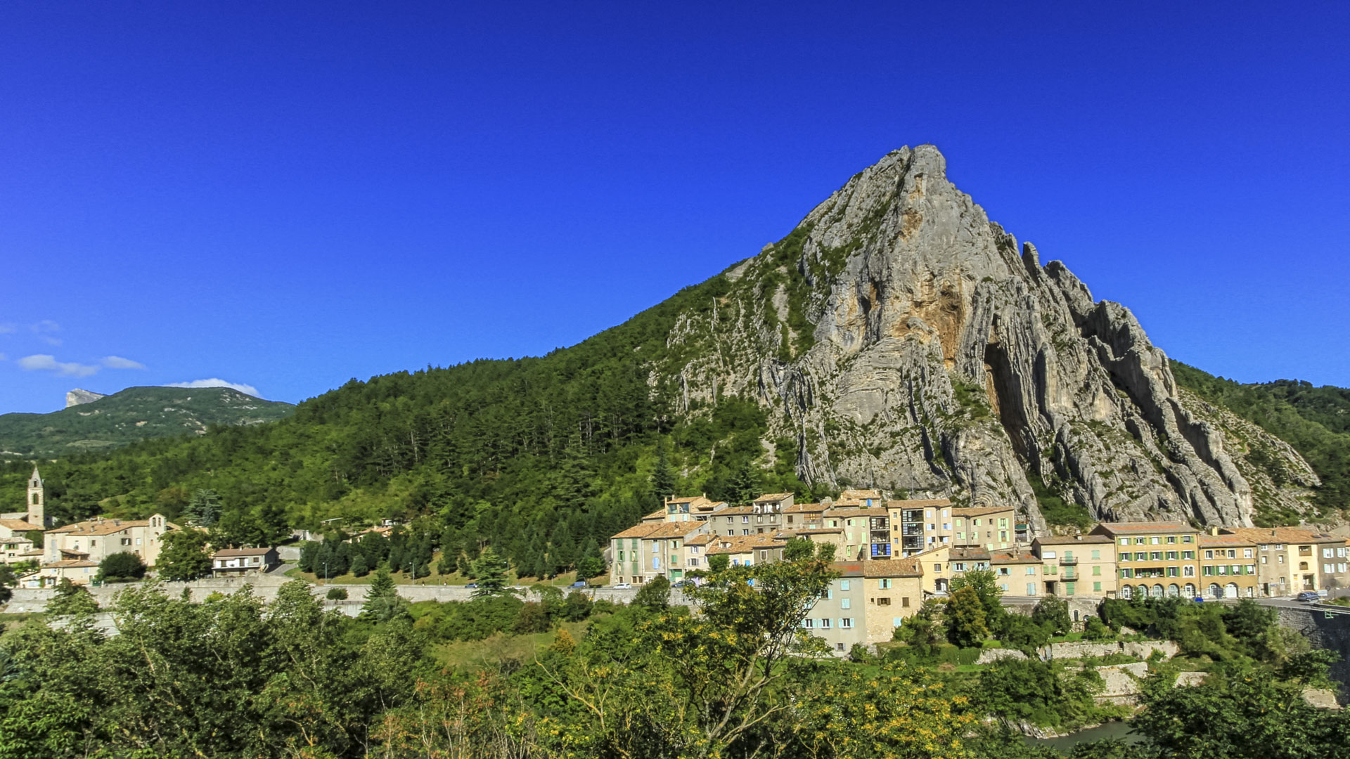 Sisteron city and Beaume big rock, France
