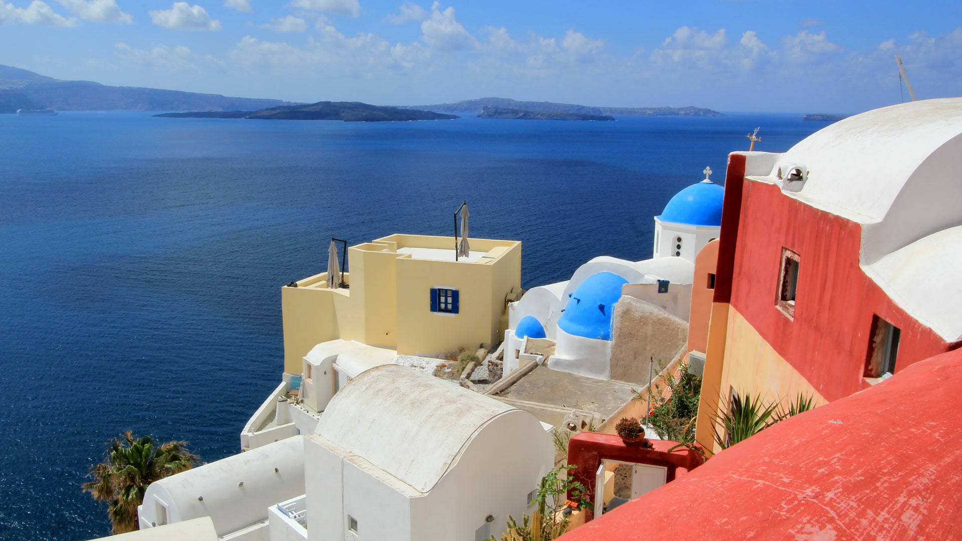 View on the caldera at Oia, Santorini, Greece, by beautiful weather