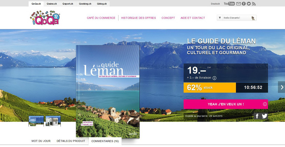 Qoqa website, Switzerland : Lavaux panorama to illustrate the offer of a Leman guide