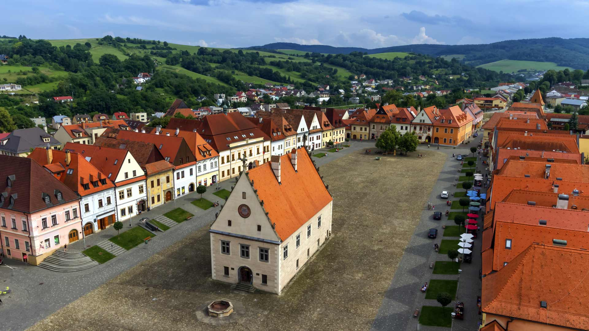 Old town square in Bardejov, Slovakia