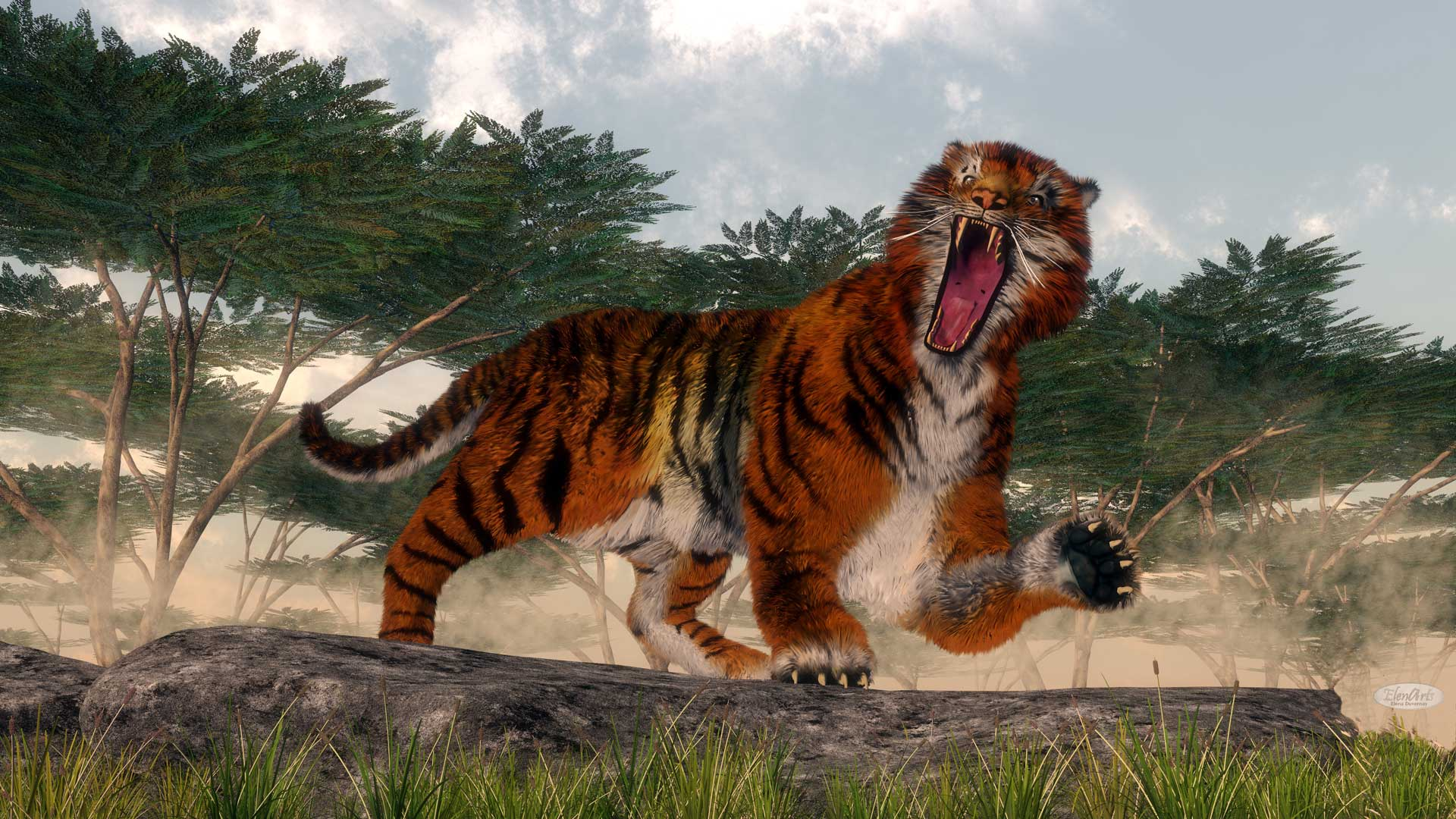 Tiger roaring upon a rock – 3D render
