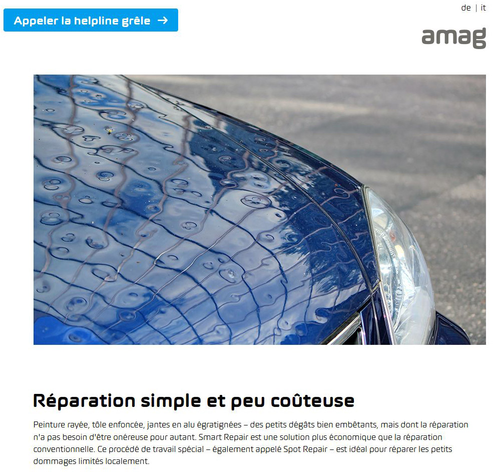 Amag car Garage, Geneva, Switzerland : hailed car to illustrate the repair offer