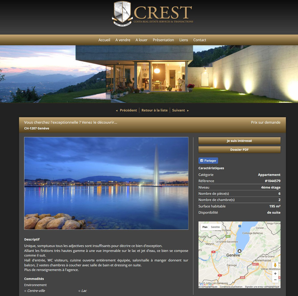 Crest Immobilier website, Geneva, Switzerland : Geneva fountain landscape to illustrate appartments to sell