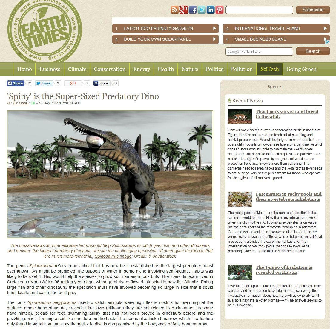 EarthTime website : spinosaurus dinosaur to illustrate an article