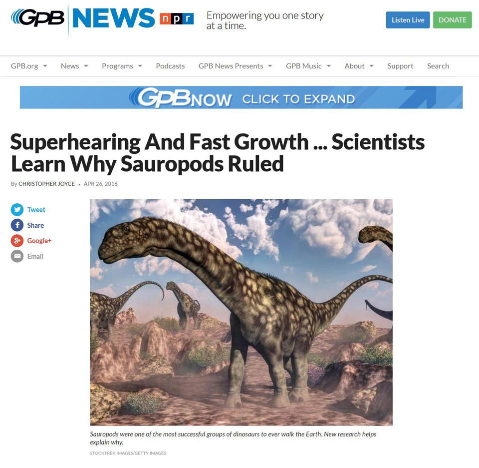 GPB news website : argentinosaurus dinosaurs to illustrate scientific article