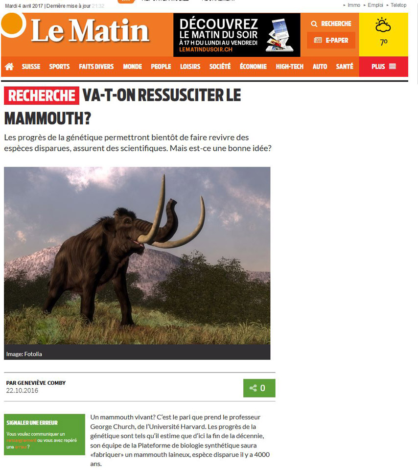 Le Matin news website : mammoth to illustrate a scientific article