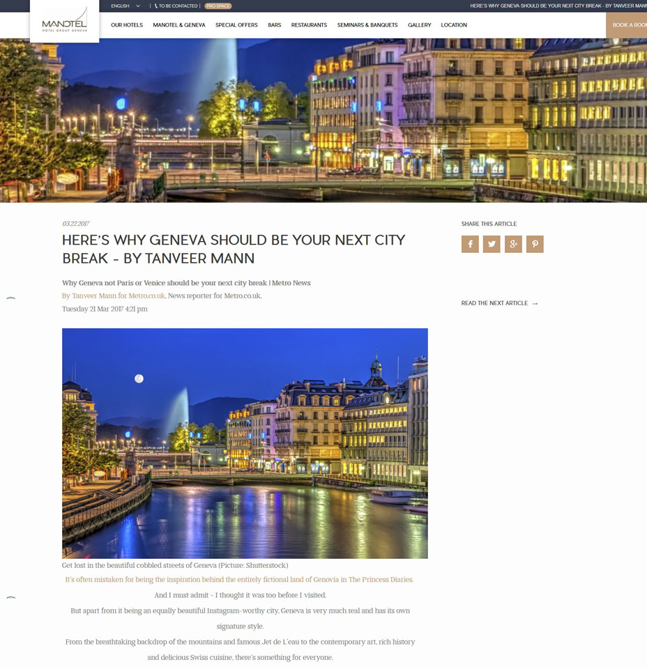 Manotel website, Geneva,Switzerland : Geneva city by night.