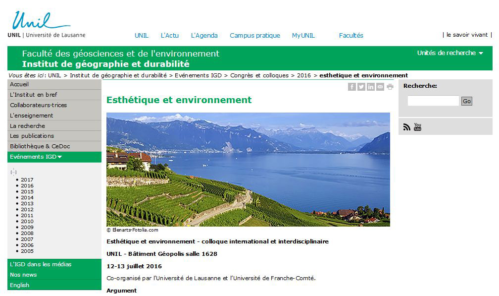 University of Lausanne website, Switzerland : Lavaux landscape to illustrate the organisation of an international colloque.