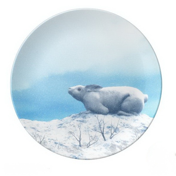 Arctic hare or polar rabbit dinner plate